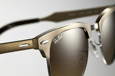 RARE Ray-Ban ALUMINIUM CLUBMASTER Brushed Gold Sunglasses RB 3507 139/85 49 MM