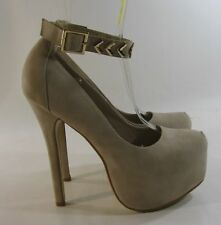 "SKINTONE Gold Stud 6""High Heel 2""Platform Round Toe Ankle Strap Sexy Shoes Siz 8"