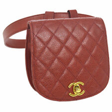 53a79e83b378 Auth CHANEL Quilted CC Waist Bum Bag Red Caviar Skin Leather Vintage AK33735