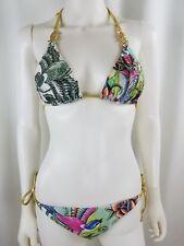 Christian Audigier Swimwear Bikini Medium M Birds Floral Rhinestones NWOT