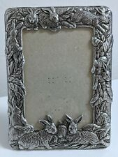 Vtg 1987 Arthur Court Rabbit-Decorated Frame Holds 6 x 4 Photo Table Stand/Loop