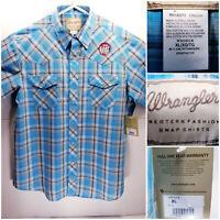 NWT Wrangler Western Fashion Mens XL SS BU Blue Plaid Checks