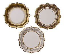 12 Gold Paper Plates Golden Wedding 50th Anniversary Vintage Style Shabby Chic