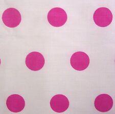 Cotone bianco con pois rosa a pois tessuto * AL METRO
