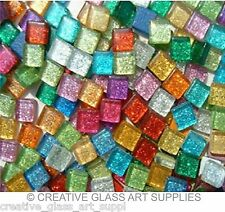 100 - 3/8 inch MIXED COLORS GLITTER Glass Mosaic Tiles