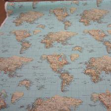 Stoff Meterware Baumwollstoff pflegeleicht Karte Weltkarte hellblau Kontinente