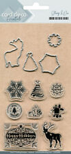 Card deco Stamp & cut Stanzschablonen mit Stempel happy Holidays Weihnachten