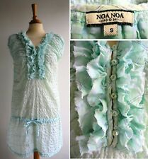 NOA NOA Green Cotton Tunic Mini Dress Seer Sucker Check Size S UK 10 12