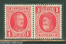 Belgium Scott#201a/211a Tete Beche Pairs Mint Stuck On Paper