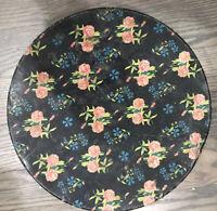VERY RARE * Vintage Large Chintz Tin * Floral Design on Black