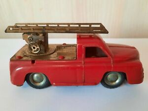 Vintage Lemezaru Gyar Foreign Tin Plastic toy Fire truck car made in Hungary