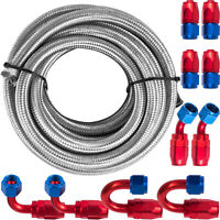 AN8 Stainless Steel Nylon Nraided Fuel Hose End USstock Gas Line Nylon Braided