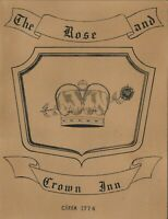 Vintage THE ROSE AND CROWN INN Restaurant Menu Annapolis Maryland 1965