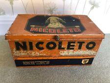 More details for large vintage nicoleto cigar tin 1935 - rare