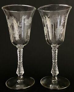 Rare Libby Rock Sharpe Grecian Cut Glass Water Wine Goblets Glasses
