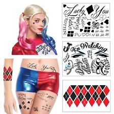 Harley Quinn Full Body Temporary Tattoo Bundle - 3 Sheets w/ 24 Tats - Costume