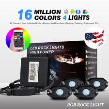 WEISIJI 4 x Pod RGB LED Rock Light, Neon LED Lights Kit for Jeep Off Road Truck