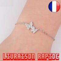 Bracelet Fille Main Chaîne Or Argent Or Rose Mignon Femme Belle Cristal Papillon