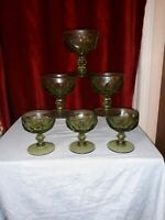 Vintage IMPERIAL GLASS PROVINCIAL GREEN Thumbprint Set 6 CHAMPAGNE TALL SHERBET
