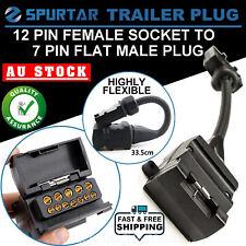 12 Pin Female Socket to 7 Pin Flat Male Plug Trailer Adapter Caravan Connector