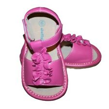 New Girls Hot Pink SQUEAKY Shoes Sandals Toddler SIZES 5,6,7,8  HP2