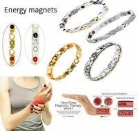 Stainless Steel Far Infrared Stone Therapy Energy Magnetic Bracelet Pain Relief