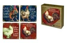 Rooster Coaster Set Chicken Hen Live Laugh Strut Keep Calm Cluck On USA Funny!