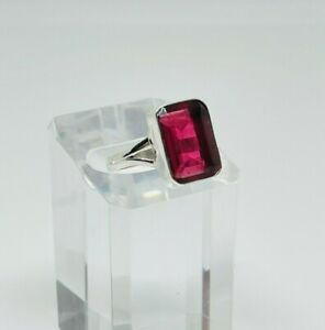 Gorgeous Sparkling Chunky Amethyst Stone Ring 925 Silver Size R1/2~S #16332