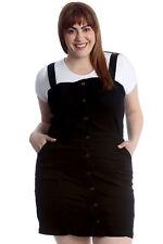 Ladies Plus Size Dungaree Dress Womens Contrast Pocket Thick Top Nouvelle Black 18