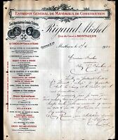 "MONTLUCON (03) ENTREPOT de MATERIAUX de CONSTRUCTIONS ""Michel RIGAUD"" en 1910"