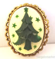 Vintage Christmas Tree Cameo Brooch