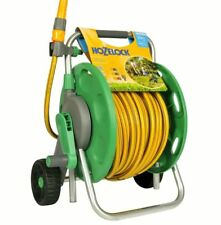 Wheeled 30m Hose Cart Reel Free Standing Water Pipe Garden Trolley Hand Crank