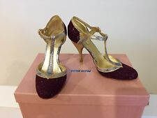 Miu Miu Burgundy Glitter Shoes with crackle gold leather 37