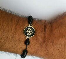 UNISEX Black Thread and Black beaded Sikh Khanda Bracelet - Nice Christmas Gift