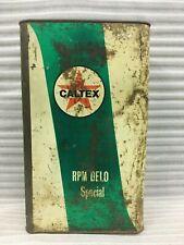 OLD VINTAGE UNIQUE CALTEX OIL AD. SIGN RPM DELO SPECIAL OIL TIN BOX.COLLECTIBLE
