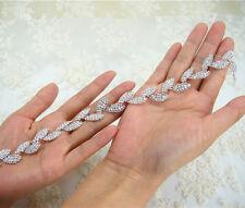 Gorgeous Crystal Bridal Applique Diamante Trim Beaded Motif Wedding Applique