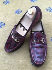 Gucci Mens Shoes  Red Brown Leather Snakeskin Horsebit Loafers UK 8 US 9 EU 42