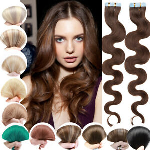 Highlight Thick Tape In Human Hair Extensions Skin Weft Full Head Remy Body waye