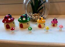 New! Fairy Home Garden Mushroom Miniatures Houses Set Of 8 USA SELLER 🇺🇸
