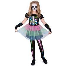 Girls Skeleton Bones Tutu Costume Childs Kids Halloween Fancy Dress (medium)