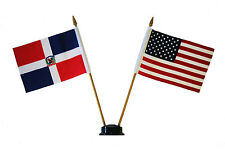 "USA & DOMINICAN REP. 4"" X  6"" DOUBLE STICK FLAG WITH BLACK STAND ON 10"" PL. POLE"