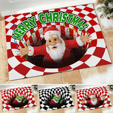 Christmas 3D Printed Vortex Illusion Anti-Skid Room Rugs Carpet Floor Door Mats