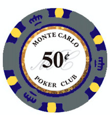 NEW 100 Gray 50¢ Cent Monte Carlo Smooth 14 Gram Clay Poker Chips Exclusive