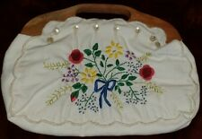 Vintage Knitting Sewing Bag Wood Handles 70s Era Fabric Floral Embroidery Tote