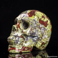 426g Natural Dragon Blood Stone Quartz Crystal Hand Carved Skull Healing Decor