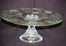 Vtg. Clear Glass Pedestal Cake Plate Stand w Embossed Fruit Designs Kitchen Tool