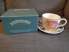 LOVELY JOHNSON BROS Jumbo cup and saucer set - floral pattern - boxed