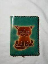 Angry Cat Handmade Genuine Leather Passport Holder Case