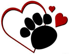 20 water slide nail art transfer decals black paw prints red heart 5/8 trending