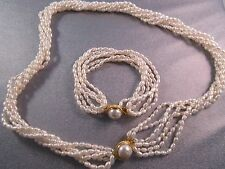 Multi Strand Freshwater Pearls Twisted Necklace Interchangeable Bracelet